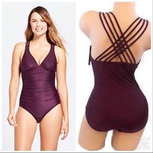 Merona One Piece plum strappy swimsuit. NWT